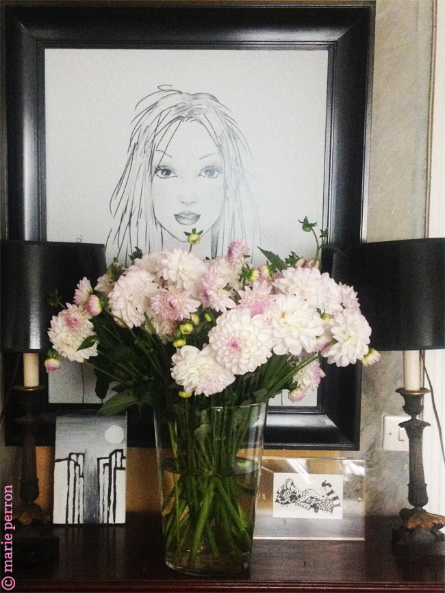 britney's portrait and dahlias